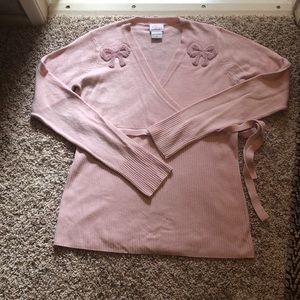 Oh Baby pink girly maternity sweater beaded bows